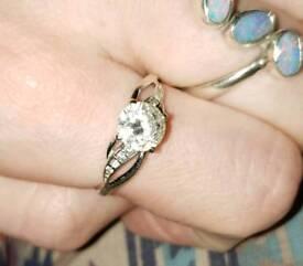 9ct White Gold Diamond Flash CZ Ring 375 Hallmarked 9KT Solid Sz O