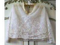 VINTAGE ANTIQUE EDWARDIAN Ivory Silk Blouse Tule Embroidered Dual Layer True Period Costume Theatre