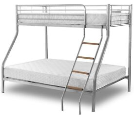 Avail in Black, Silver Or White- Brand New Double Trio Sleeper Metal Bunk Bed + Mattress is Optional