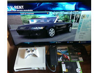 Xbox 360 + 3 games + wireless controller.