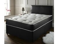 - KING SIZE DIVAN BED - BASE WITH BRAND NEW DUAL SIDED SEMI ORTHOPEDIC MATTRESS - SAME DAY DELIVERY
