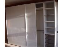 IKEA pax triple wardrobe with sliding glass door