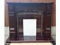 Mahogany Surround and Tiled Back and Hearth