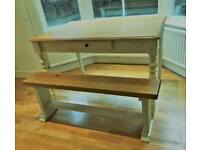 John Lewis dining table (with drawer) and bench