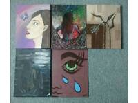 Various smaller paintings for sale