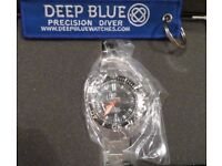 Deep Blue Master 2000 Diver 10Y Limited Edition automatic men's watch. Black/Orange. New!