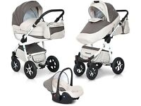 MONDO ECCO Expander 3 in 1 Leather Travel System. Pushchair / Buggy / Pram / Car Seat / Carrycot
