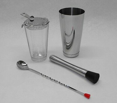 5 Piece Boston Shaker Set Glass Strainer Muddler Spoon Weighted Tin Bar Kit