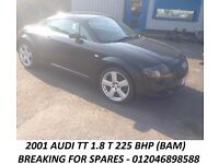 2001 AUDI TT 1.8 T 225 BHP BAM BREAKING FOR SPARES PARTS ENGINE GEARBOX BODY PANELS INTERIOR ALLOYS