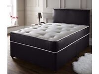 *OFFER* DIVAN / LEATHER DOUBLE BED IN BLACK & WHITE COLOUR SMALL DOUBLE SIZE ,SINGLE AND KING SIZE
