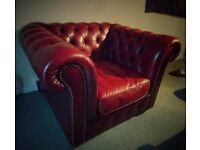 Chesterfield leather suite - Sofa and two club chairs in Oxblood Red