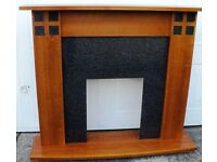 FREESTANDING MODERN STYLE TEAK EFFECT FIRE SURROUND AND HEARTH