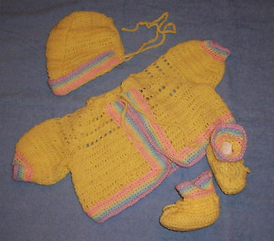 YELLOW HAND-CROCHETED HANDMADE 3-PIECE BABY SWEATER SET 0-6 mo