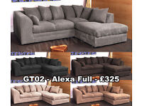 New Corner Sofas Fabric Couches Cheap Settees Multiple Colours, Free Delivery