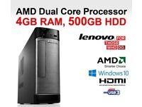 LENOVO H505S / AMD - 450 / 4 GB RAM / RADEON HD 6320 / USB 3.0 / HDMI - WIN 10