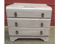 Small Vintage 1950's chest of 3 drawers hand painted, aged & distressed wax finish