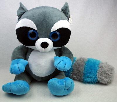 Plüsch Waschbär mit buntem Schwanz, grosse Augen ca 44cm blau Waschbär Schwanz