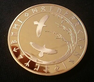 Viking Tree of Life Ravens Huninn & Muginn & Talisman 24K Gold clad Coin Token