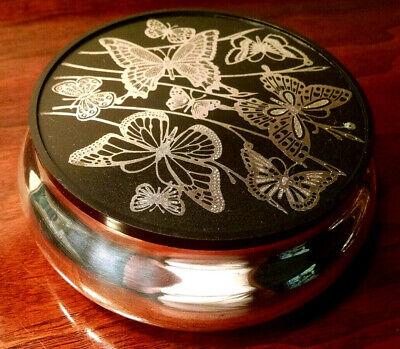 "Oneida Silver Plate Butterfly Inlaid 5"" Vanity Powder Trinket Box_Candy Dish"