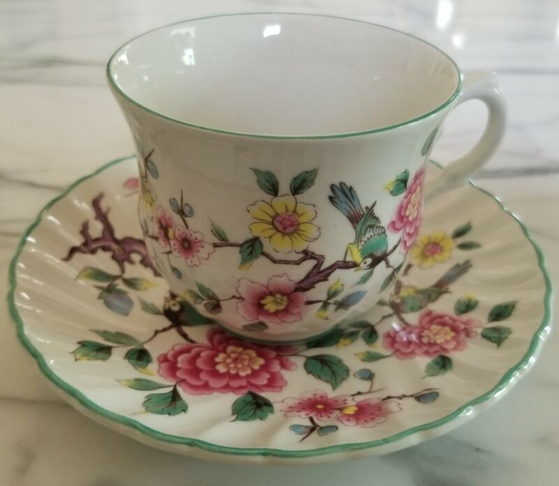 """Old Foley James Kent """"Chinese Rose"""" Cup & Saucer Set Staffordshire, England 1940"""