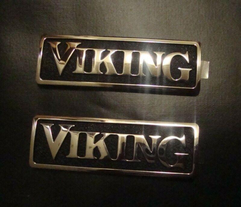 """2 - Viking OEM 2 3/4"""" Metal Emblem Logo Badge Self Adhesive Nameplate Pair"""
