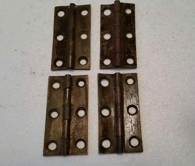4 ANTIQUE BRASS TABLE CABINET TRUNK DOOR  HINGES  (176H)