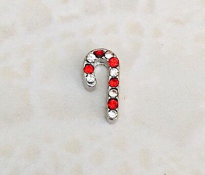 RHINESTONE CANDY CANE Christmas Silver Floating Charm for Memory Locket - Candy Charm