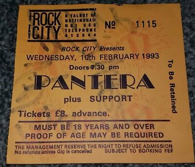 Pantera ticket stub personally signed by the entire band during their 93 UK tour