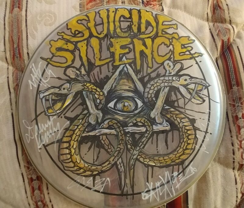 SUICIDE SILENCE RARE HAND DRAWN SIGNED 13IN DRUMHEAD,korn,deftones,slayer,danzig