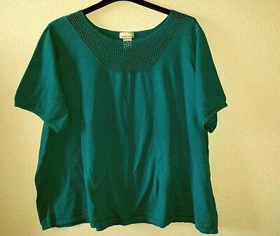 Bargain Stain Front CHELSEA STUDIO Plus Size 4X Cotton Knit Top Crochet Neckline (Plus Size Bargains)