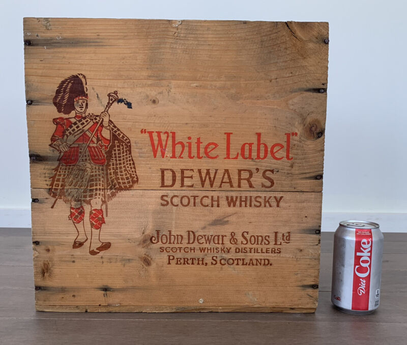 "Vintage Dewars White Label Scotch Whisky 15.25"" Wood Wooden Box Case Crate"