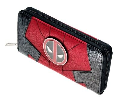 Marvel's Deadpool Red and Black Zip Around Clutch Wallet With Metal Shield Logo