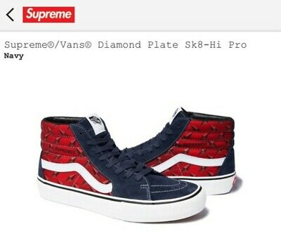 FREE ONE DAY SHIPPING Supreme Vans Navy Red Diamond Plate Sk8-Hi Size US 10 Men