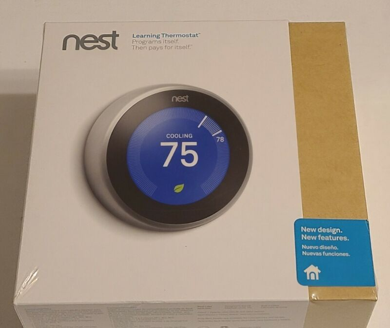 NEW Google T3007ES Nest 3rd Gen. Learning Thermostat - Stainless Steel
