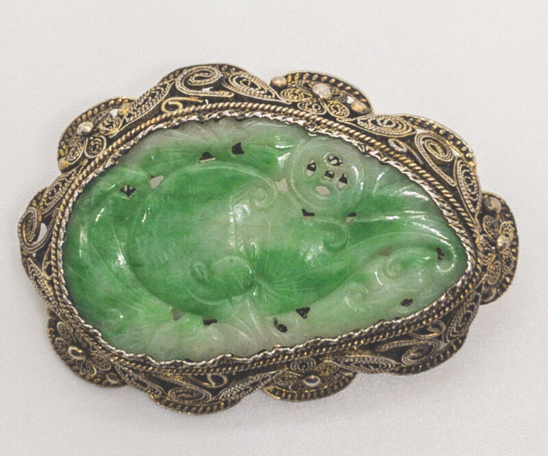 Antique Chinese Carved jade Silver Filigree Brooch