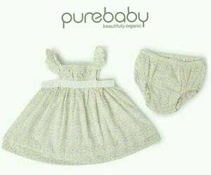 NEW PUREBABY Baby Girl Organic Cotton Dress with Bloomer / Nappy Pant - 000