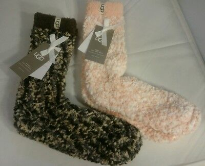 Chenille Womens Socks - 2 Pairs NEW Ugg Womens Cozy Crew Socks Chenille Size 9-11 Soft Pink & Grey NWT