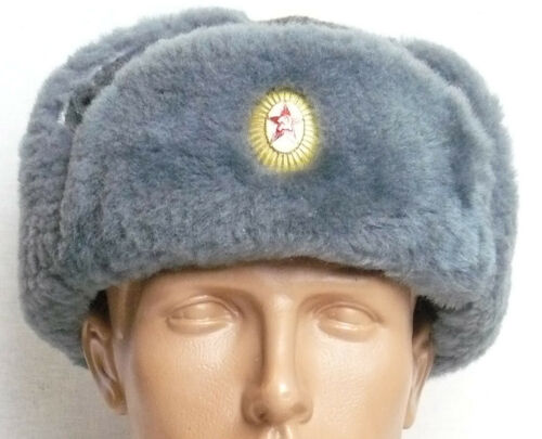 Vintage Officer Winter Hat Uniform Russian Soviet Army Badge Military M Size 58