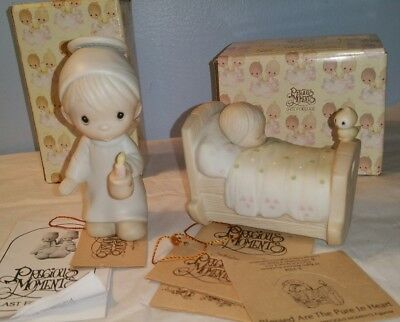Precious moments figurines Boy Angel candle light  Blessed are the pure at heart