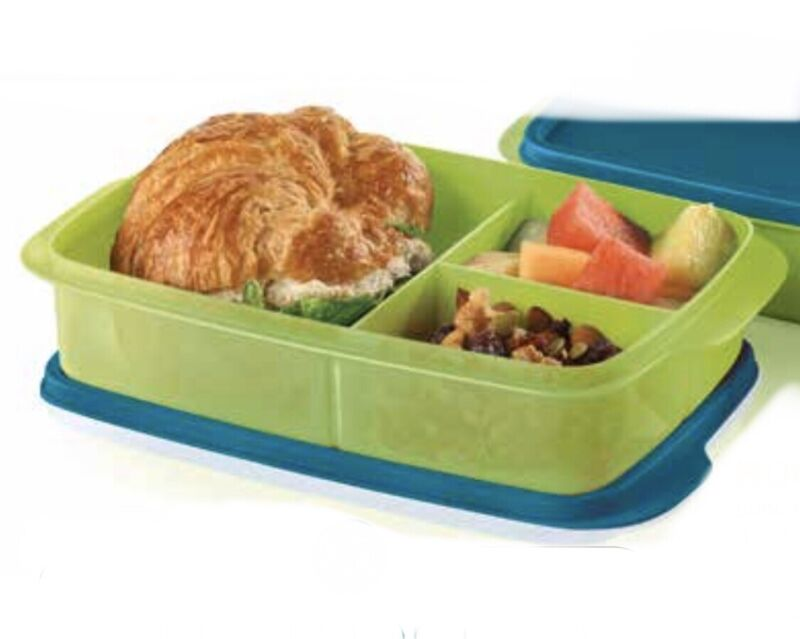 New! Tupperware LARGE Lunch-It Divided Container Rectangle Bento Box