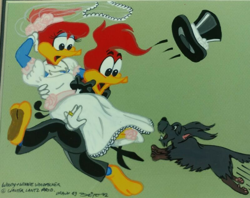 Woody Woodpecker Getting Married Walter Lantz Hand Painted Animated Cel Framed