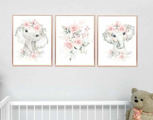 Elephant Nursery Wall Art - Pink & Grey Nursery Decor - Baby Room Decorations