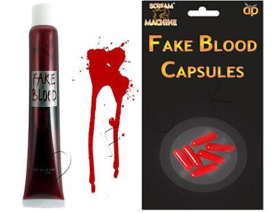 Halloween Künstliches Blut Rohr & Pillen Kapseln Vampir Streich Kleid Kostüm ()
