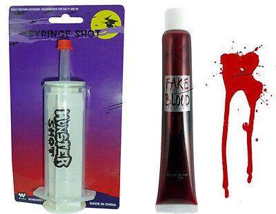 Halloween Künstliches Blut Rohr & Krankenschwester Horror Spritze Vampir Kostüm ()