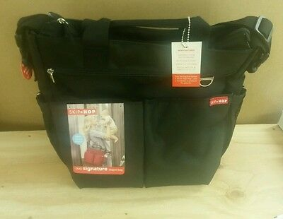 Skip Hop Diaper Bag Duo  Black Signature W/ Changing Pad - NWT