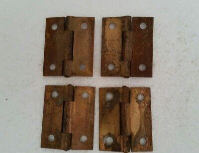 4 MATCHING VINTAGE ANTIQUE STEEL  HINGES  1 1/2 × 2