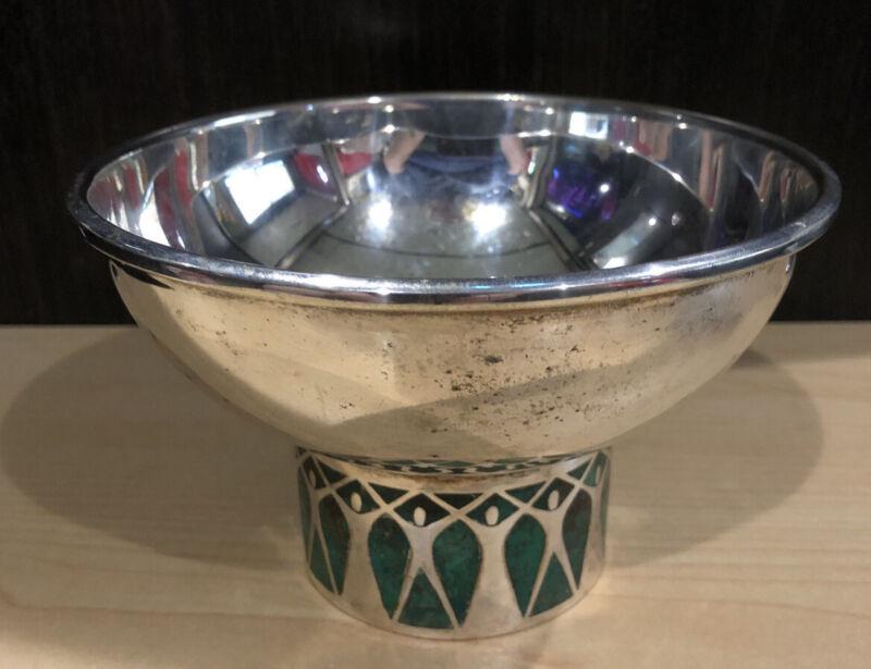Los Castillo Vintage Taxco Mexican Inlay Silver Plate Bowl