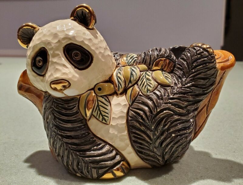 "Beautiful Lacquered w/Gold Accents DeRosa Rinconada ""Panda On Tree"" #F166 - 2013"