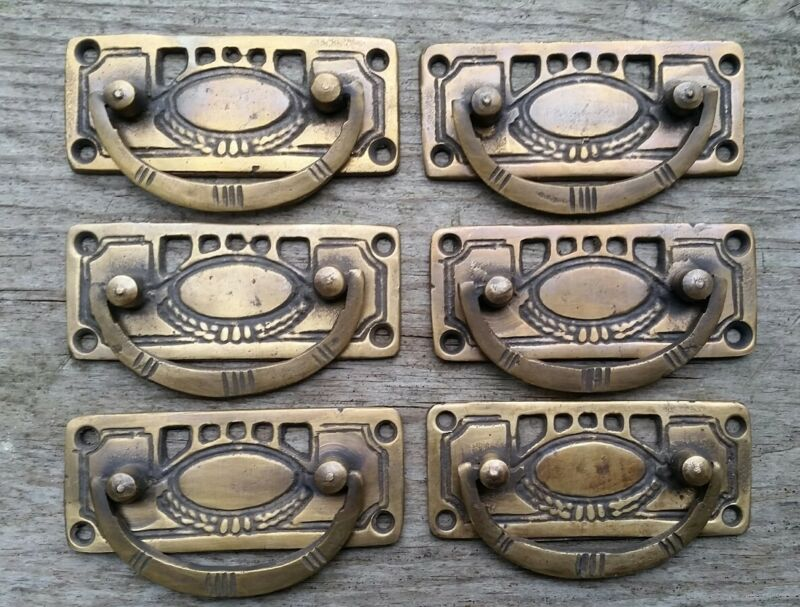 "6 Arts and Crafts antique style brass handles pulls hardware  3 1/8""w #H33"