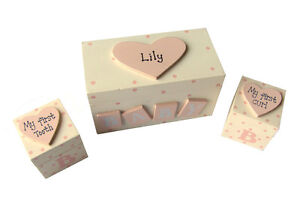 Shabby Chic Baby Girl Personalised Wooden Keepsake Tooth & Curl Box - Gift Idea!